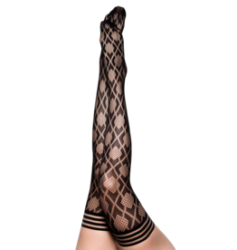 Elle Black Fishnet Diamond Thigh Highs