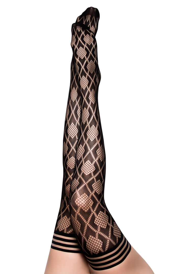 Elle Black Fishnet Diamond Thigh Highs