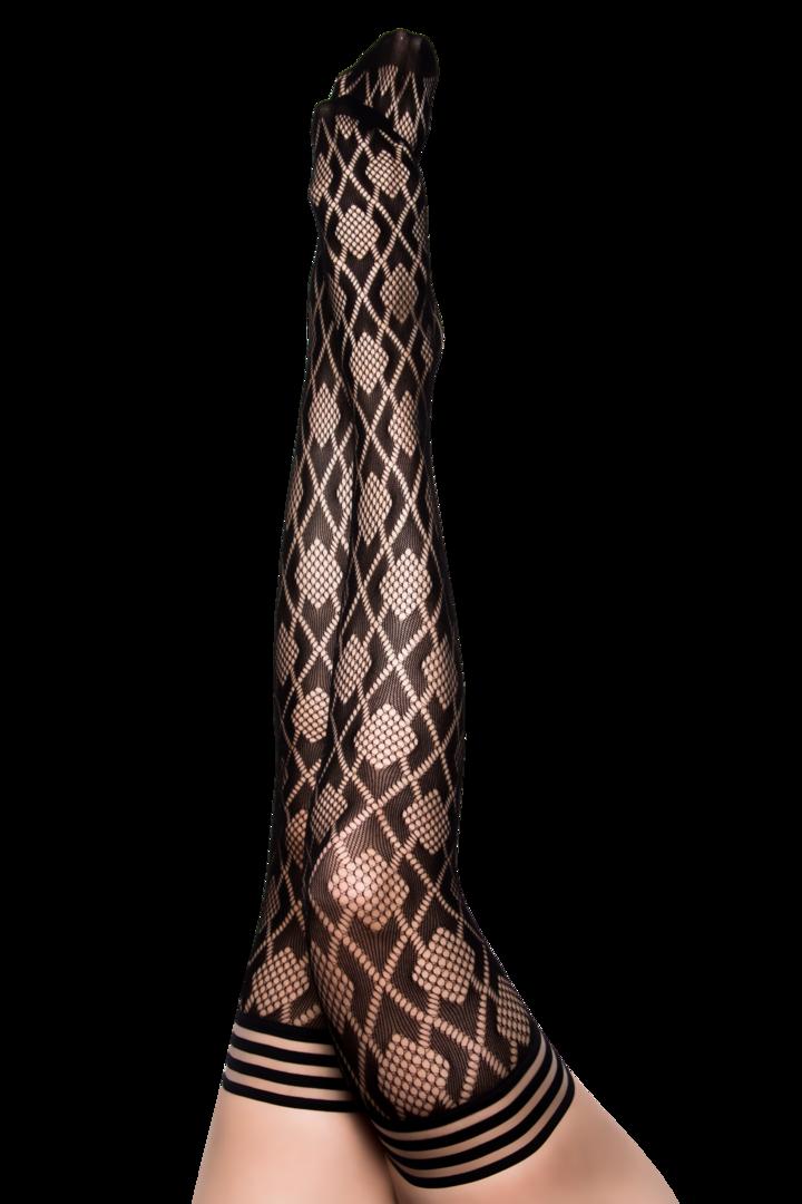 Kix'ies Elle Black Fishnet Diamond Thigh Highs
