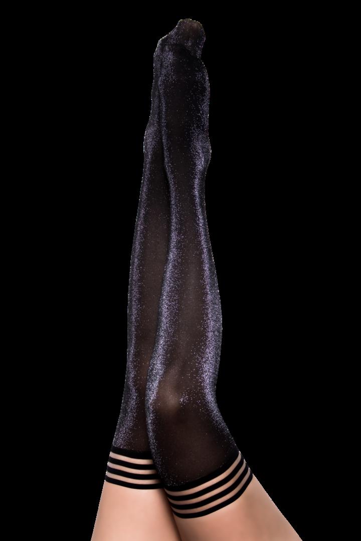 Kix'ies Kaylee Black Shimmer Thigh Highs