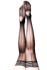 Lois Black Sheer Thigh Highs w/ Back Seam