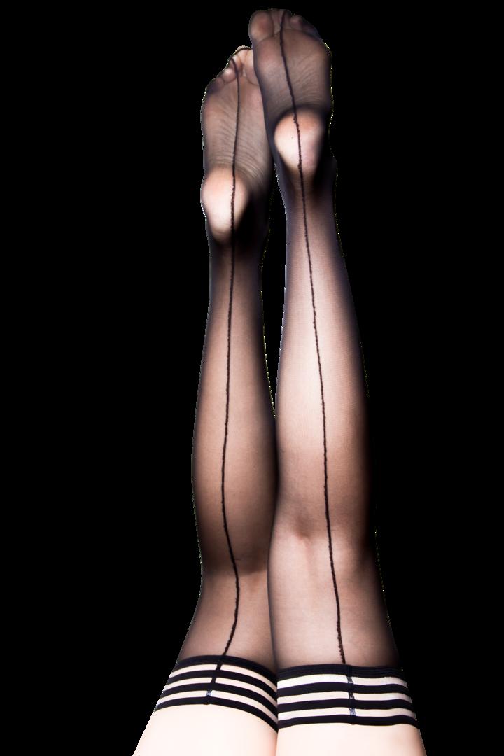 Lois Black Sheer Thigh Highs w/ Back Seam