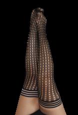 Mimi Black Circle Fishnet Thigh Highs