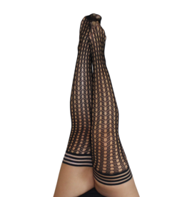 Kix'ies Mimi Black Circle Fishnet Thigh Highs