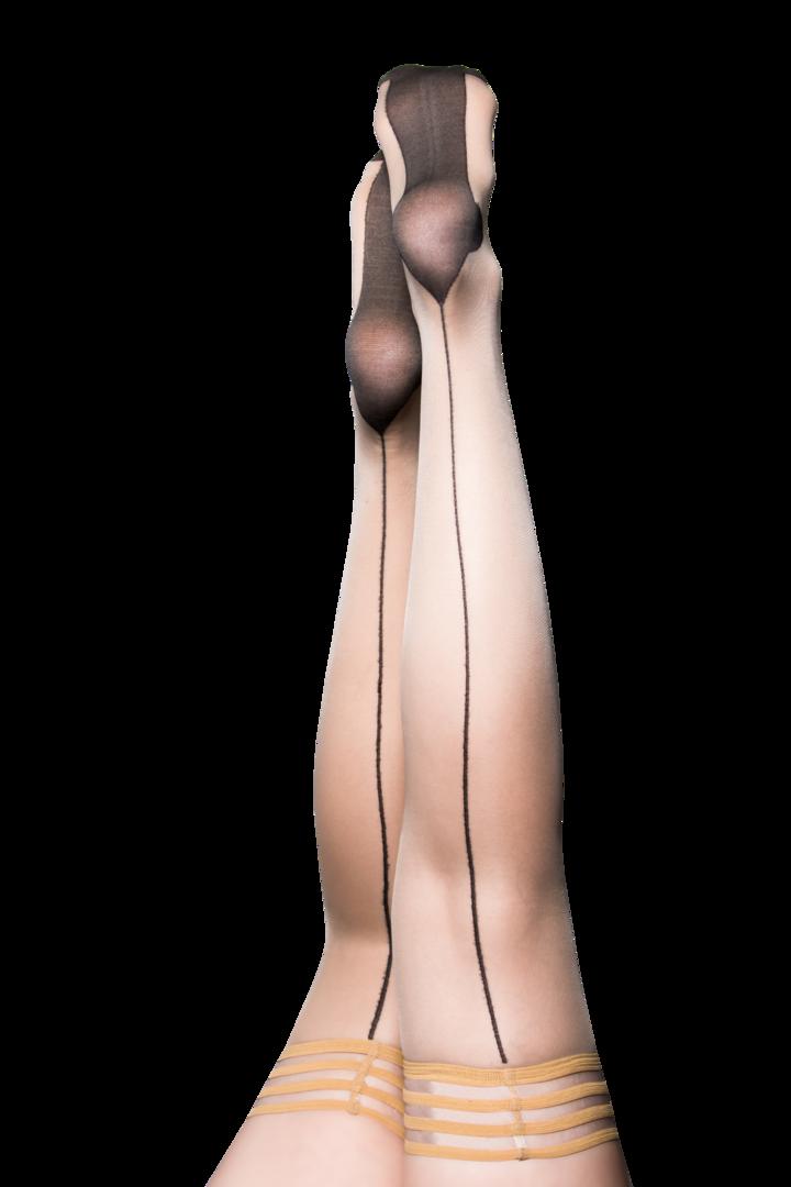 Ruby Nude Thigh Highs w/ Cuban Heel