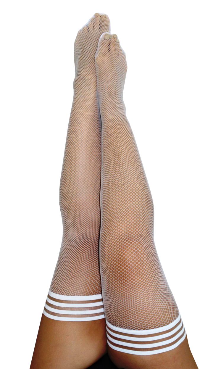 Sammy White Fishnet Thigh Highs