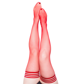 Sandra Red Fishnet Thigh Highs