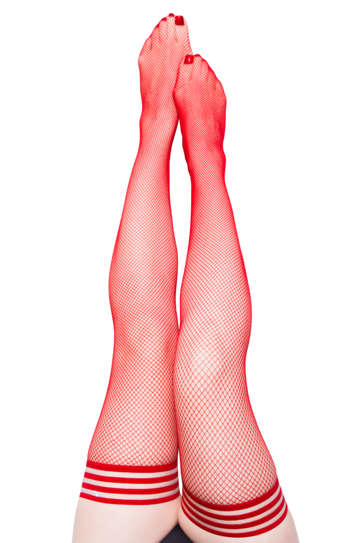Sandra Red Fishnet Thigh Highs