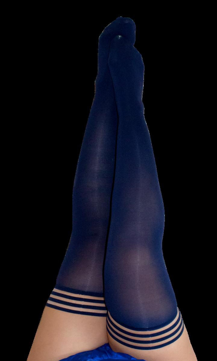 Kix'ies Selma Navy Opaque Thigh Highs