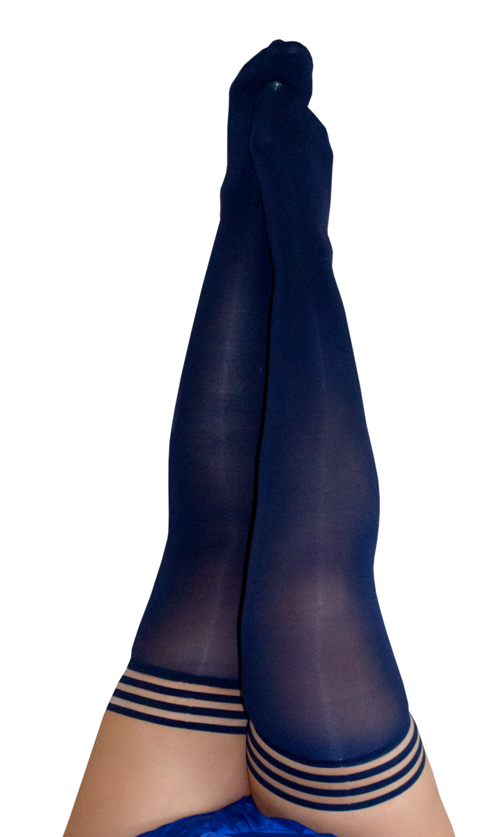 Selma Navy Opaque Thigh Highs