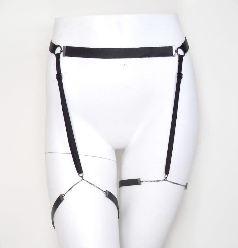 Lovelorn Lingerie Chain and Leather Garter Belt