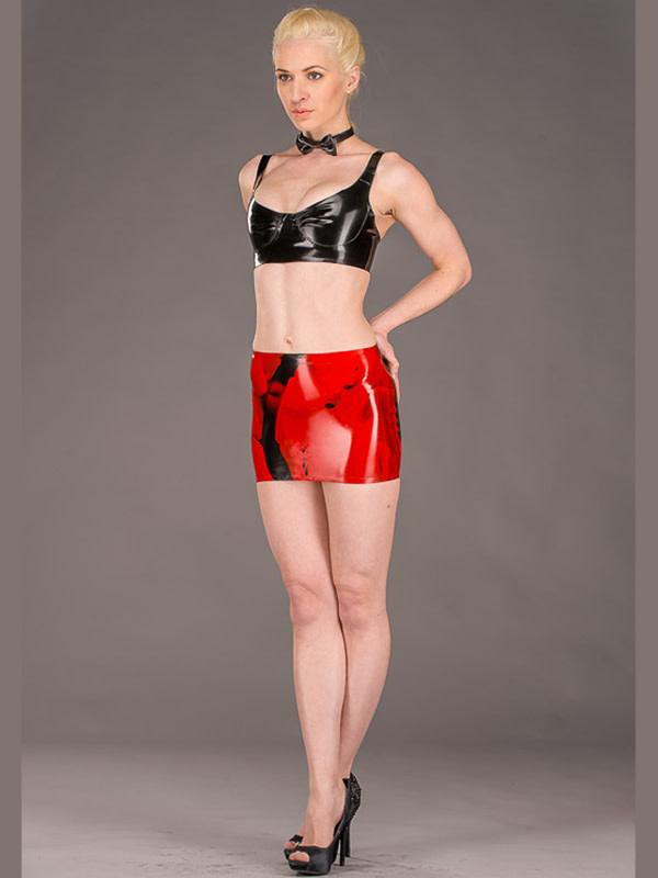 Marbled Latex Mini Skirt