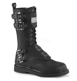 Demonia Bolt Mid Calf Combat Boot w/ Double Buckles