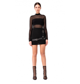 Stretch Mini Skirt w/ Faux Leather Harness
