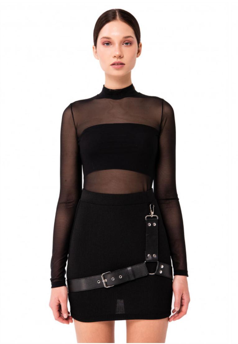 Stretch Mini Skirt w/ Faux Leather Harness