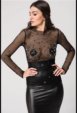Long Sleeve Fishnet Top w/ Stars & Spikes