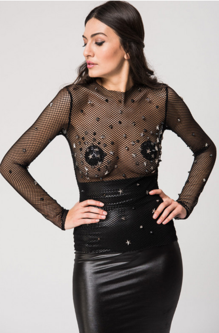 Long Sleeve Fishnet Top w/ Stars & Spikes