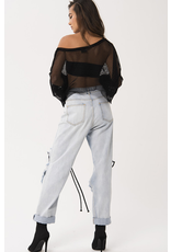 Asymmetrical Ruched Sleeve Fishnet Crop Top