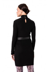 Stretch High Neck Dress w/ Faux Leather Harness
