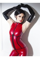 Sleeveless Latex Catsuit Red/Black Small