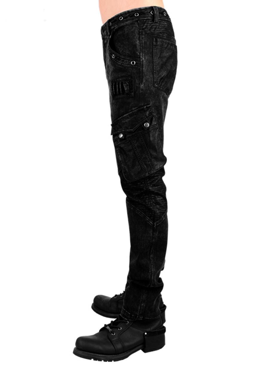 PNKR Dark Acid Wash Cargo Jeans