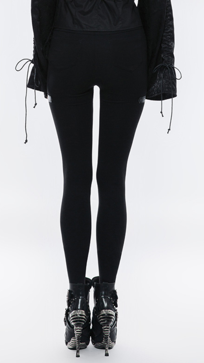 PNKR Cutout Legging Pants w/ Leatherette Accent