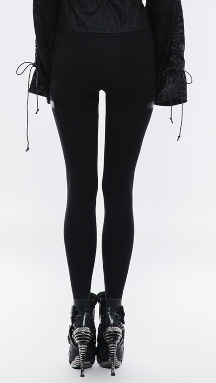 PNKR Cutout Legging Pants w/ Leatherette Accent