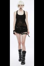 PNKR Black Distressed Shorts w/ Thigh Strap
