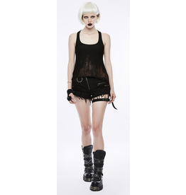 Black Distressed Shorts w/ Thigh Strap