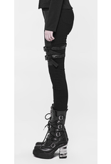 Black Skinny Pants w/ Leatherette Pouch & Buckles