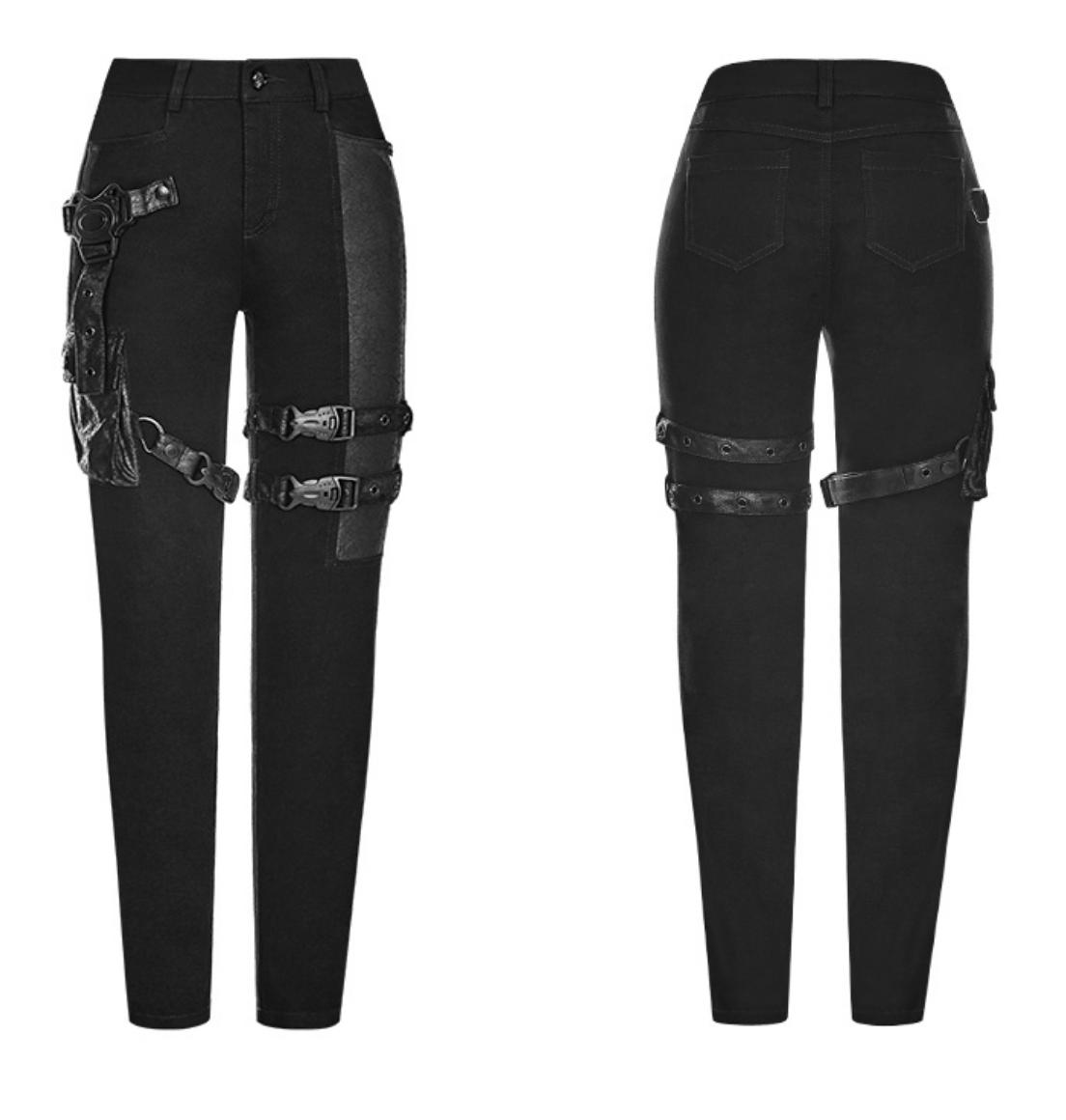 PNKR Black Skinny Pants w/ Leatherette Pouch & Buckles