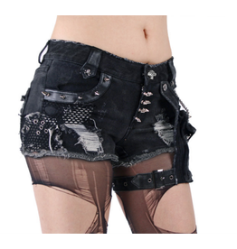 Distressed & Spiked Shorts w/ Pouch