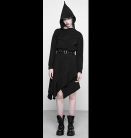 Asymmetrical Belted Hoodie Dress