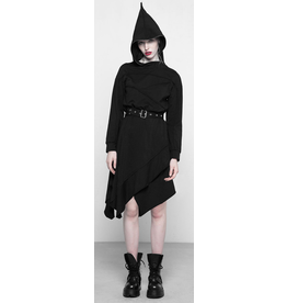 PNKR Asymmetrical Belted Hoodie Dress