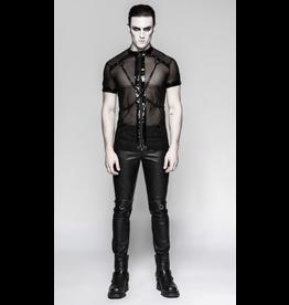 Mesh Zip Shirt w/ Chains