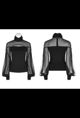 Cotton & Mesh High Collar Long Sleeve Shirt