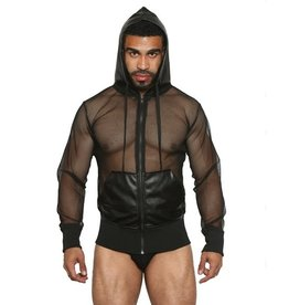 Black Unicorn Net and Faux Leather Hoodie