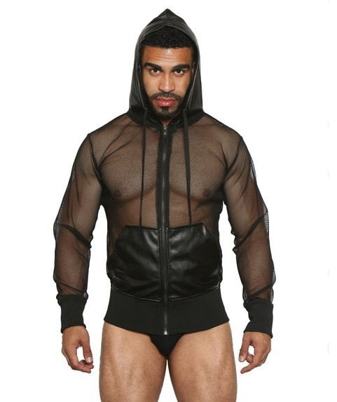 Net and Faux Leather Hoodie