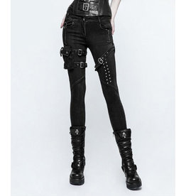 Skinny Black Thigh Pouch Jeans