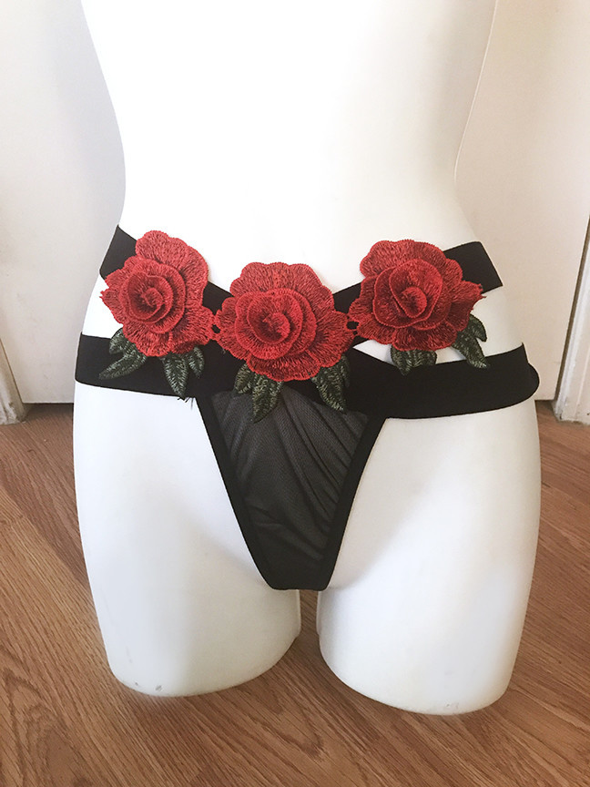 Double Strap Rose Thong