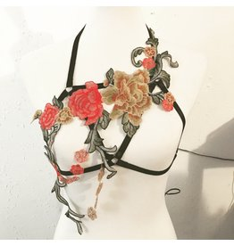 Liquid Red Open Cup Floral Bralette