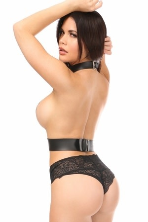 Leatherette Collar to Waist Harness