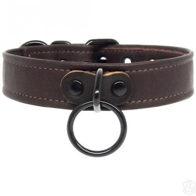 Black Leather Collar w/ Black Hardware