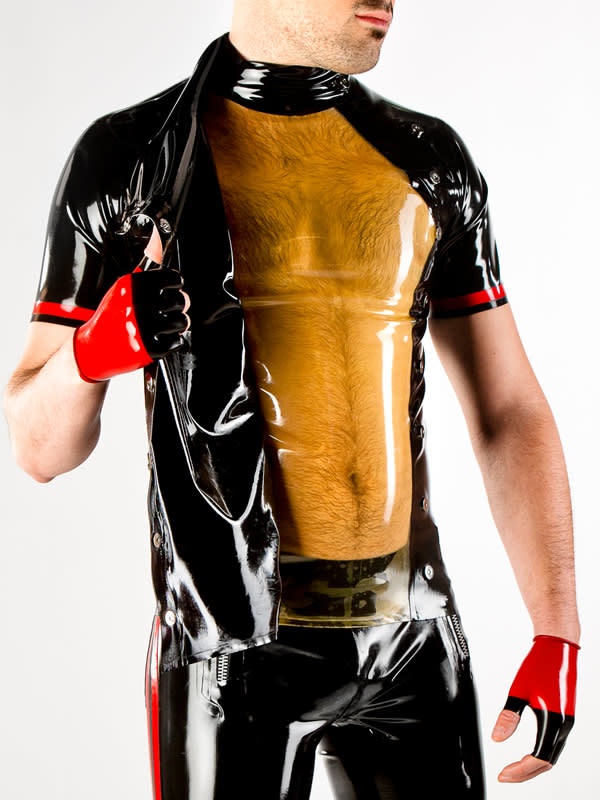 Polymorphe Asymmetrical Snap Panel Latex Shirt