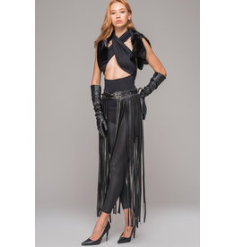 Long Leatherette Belt Skirt