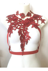 Red Floral Chest Harness