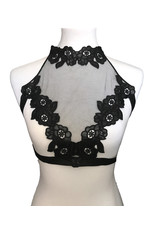 Mesh and Lace Open Cup Halter