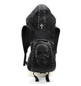 Skull Backpack Hoodie Harness - Black One Size