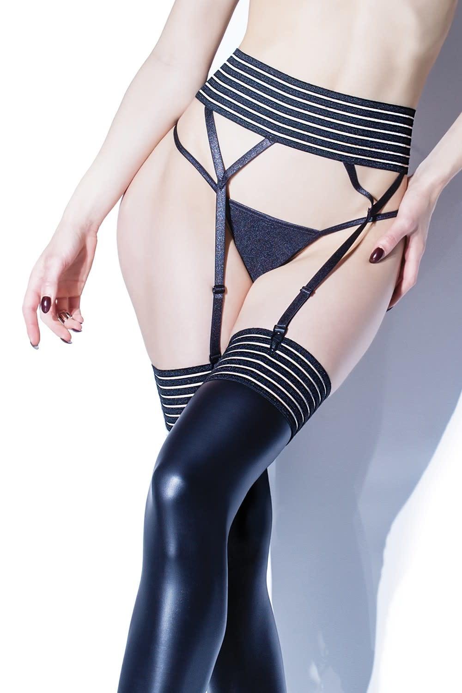 Striped Mesh Garterbelt