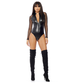 Wetlook and Mesh Zip Front Bodysuit